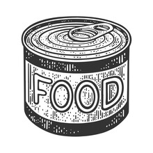 Canned Food Tin Sketch Engravi...