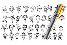 Children Doodle Set. Collection Of Hand Drawn Sketches Templates Patterns Of Happy And Sad Drawing Children Characters Boys And Girs On White Background. Kids Facial Expression Illustration.