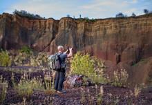 Photographer Shooting Inside A Volcano