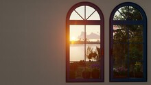 Blazing Sunrise Over The Lake Behind The Closed Windows 3D Rendering