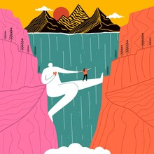 Huge Man Who Acts As Bridge For Girl Across Canyon With Waterfall. Mountains And Sun In Background. Concept Design Of Support, Love, Friendship, Psychological Help, Overcoming Fears. Romantic Print