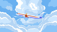 The Plane's Leaving The Airport. Plane Landing At The Airport. The Plane's In The Clouds. Travel To Distant Countries By Air. Flight To Another Country. Take-off Liner. EPS 10 Vector Illustration