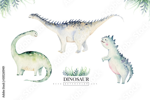 Obraz Cute cartoon baby dinosaurs collection watercolor baby shower invite, hand painted dino isolated on a white background for nursery poster decoration. Rex children funny art - fototapety do salonu