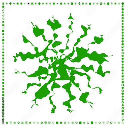 Green, organic-angular geometric generative art shapes, abstract vector illustration Wall mural