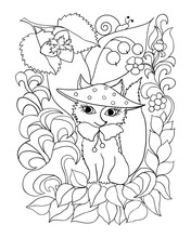 A Cute Fox In A Hat Sits Surrounded By Forest Elements, Flowers, Mushrooms, Berries. Coloring Book Page, Antistress For Adults And Children. Vector Illustration Black And White Contour.