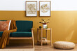 canvas print picture Stylish scandinavian interior of living room with design green velvet sofa, gold pouf, wooden furniture, plants, carpet, cube and mock up poster frames. Template.