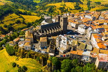Scenic View Of The City Of Saint-Flour And Saint-Flour Cathedral In The Auvergne Region. France
