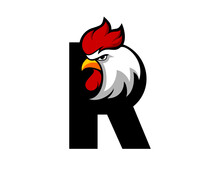 R Letter With Rooster Head Inside