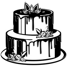 Two-tier Holiday Cake. Sweet Dessert In Monochrome Style.