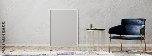 Obraz Blank frame in contemporary interior with blue chair and coffee table and design rug on wooden parquet and gray wall, panorama, 3d rendering - fototapety do salonu