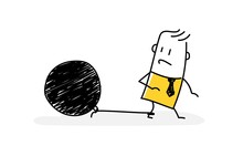 Sad Man Looking At A Large Ball Tied To His Leg.