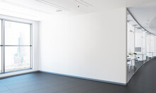 White Big Wall At Office Mock Up