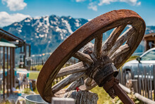 Old Wooden Wagon Wheel At The ...