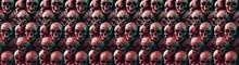 Group Human Skulls Background Texture Pattern.