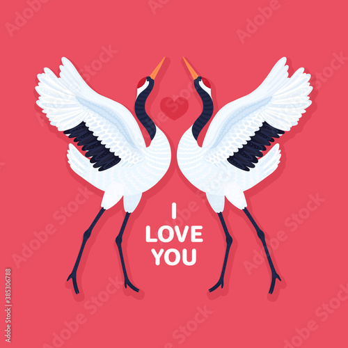 Fototapeta premium Pair of red crowned cranes and heart. Background with dancing East Asian birds. Love and romance. Valentine's day design. Card, print on t-shirt and other apparel, cover, banner, poster, label. Vector