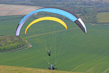 Paragliders Launching At Combe Gibbet, England