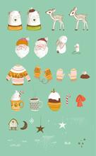 Xmas Holiday Card Elements, Sa...