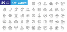 Navigation, Location, GPS Elements - Thin Line Web Icon Set. Outline Icons Collection. Simple Vector Illustration