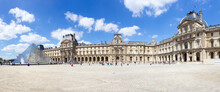 Panorama View Of The Inner Court Of The Louvre Museum. The Museum Is One Of The World's Largest Museums And The Most Popular Tourist Destinations In France.