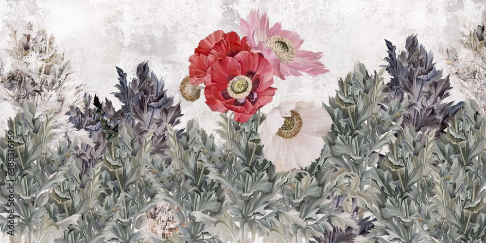 Poppies flowers illustration. Poppies painted on the grunge wall. Beautiful design for card, postcard, picture, mural, wallpaper, photo wallpaper.