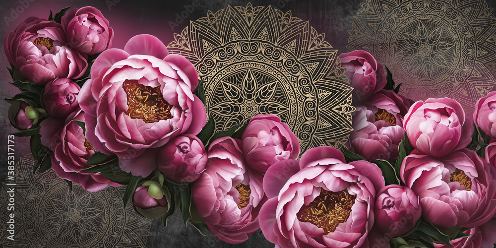 Flowers painted on a dark wall with patterns. Peonies on the wall grunge texture. Design for wall, mural, photo wallpaper, wallpaper, cards, postcards, paintings.