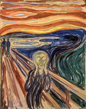 The Scream - Edvard Munch Painting Reproduction In Low Poly Style. Digital Polygonal Replication. Conceptual Vector Illustration