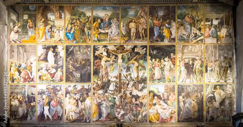 """Italian Renaissance masterpiece """"Parete Gaudenziana"""" (Gaudenziana Wall) in Varallo - Italy"""