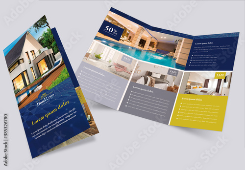 Obraz Luxury Hotel Brochure Trifold Layout - fototapety do salonu