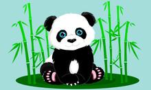 Panda And Bamboo On A Light Ba...