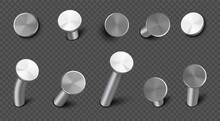 Iron Nails Hammered In Wall, Straight And Bent Steel Spikes With Circle Head. Vector Realistic Set Of Metal Pins, Hardware Hobnails, Carpentry And Construction Tools Isolated On Transparent Background