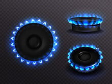 Burning Gas Stove With Blue Flame Top And Side View. Kitchen Burner With Lit Hobs, Propane Butane Flame In Cooking Oven, Glowing Cooktop Isolated On Transparent Background, Realistic 3d Vector Set