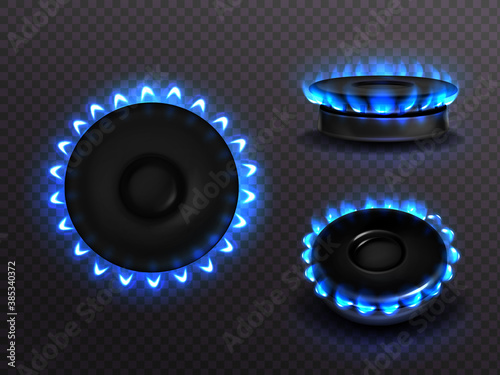 Burning gas stove with blue flame top and side view Fototapeta