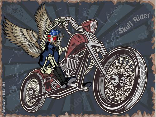 skeleton on motorcycle