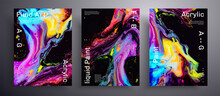Abstract Acrylic Banner, Fluid Art Vector Texture Set. Beautiful Background That Applicable For Design Cover, Invitation, Flyer And Etc. Purple, Blue, Yellow And Black Creative Iridescent Artwork