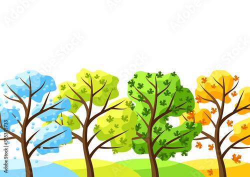 Obraz Four seasons trees background. - fototapety do salonu