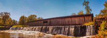 Covered Bridge Waterfall At Watson Mill State Park In Comer Georgia Pano