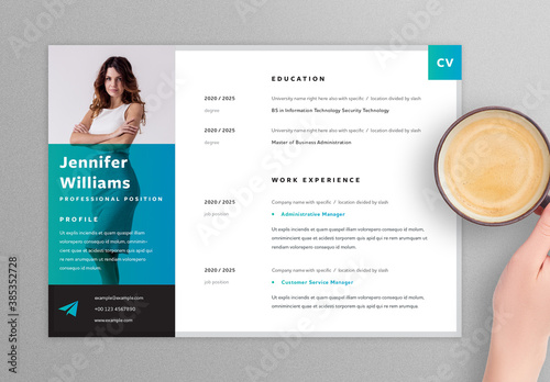 Trendy Horizontal Resume Layout with Teal Accents