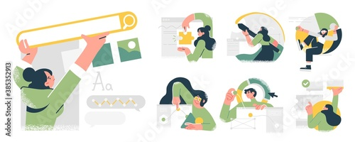 Business Concept illustrations. Collection of scenes with men and women taking part in business activities. Trendy vector style. - 385352913