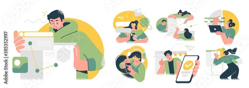 Business Concept illustrations. Collection of scenes with men and women taking part in business activities. Trendy vector style. - 385352997