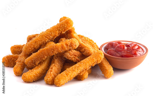 Pile of Chicken Fries isolated on a White Background Tapéta, Fotótapéta