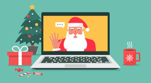 Santa Claus Hand Greeting Via Video Calling On The Laptop For Online Christmas And Holiday Celebration, Cartoon Character Vector Flat Illustration