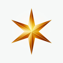 Realistic Golden Christmas Six-pointed Star. Vector Illustration On White Background