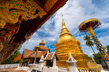 Traditional Lanna Buddhist Temple Wat Pong Sanuk Temple In Lampang City, Thailand