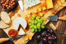 Top View Of Cheese Plate And S...