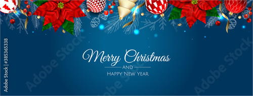 Fototapeta Merry Christmas and Happy New Year Holiday white banner illustration. Xmas design with realistic vector 3d objects, golden christmass ball, snowflake, glitter gold confetti. obraz