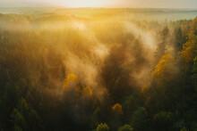Colourful Sunrise With Fog Abo...