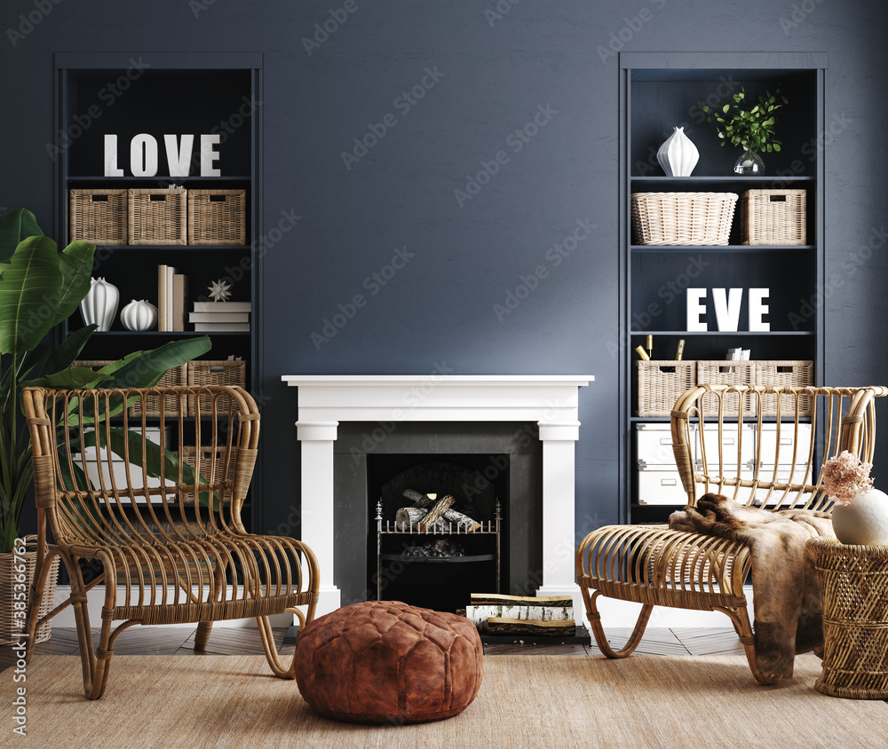 Fototapeta Eclectic home interior in classic blue color, 3d render