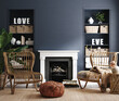 canvas print picture Eclectic home interior in classic blue color, 3d render