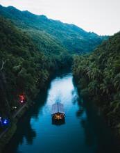 Aerial View Of Traditional Boat On Loboc River Traversing The Jungle, Philippines.