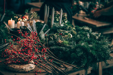 Christmas Advent Wreath Craft With Red Candles Made From Natural Components